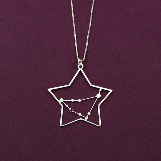 Capricorn constellation necklace in silver by Delftia Science Jewelry
