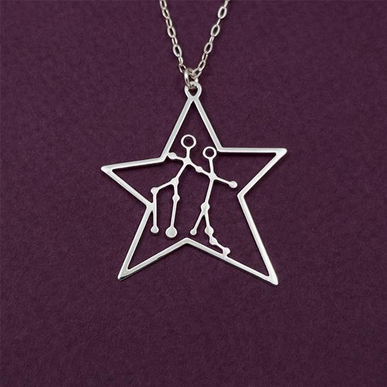 Gemini constellation in silver by Delftia Science Jewelry