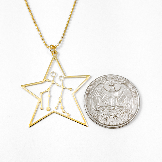 Gemini in gold by Delftia Science Jewelry