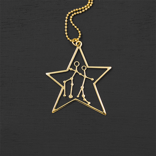 Gemini necklace in gold science gift by Delftia Science Jewelry