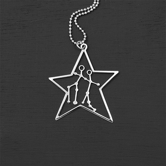Gemini necklace in silver star by Delftia Science Jewelry