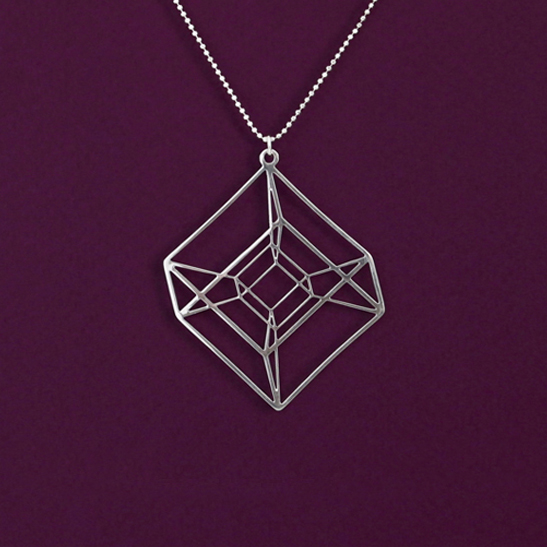 Hypercube tesseract necklace in silver by Delftia Science Jewelry