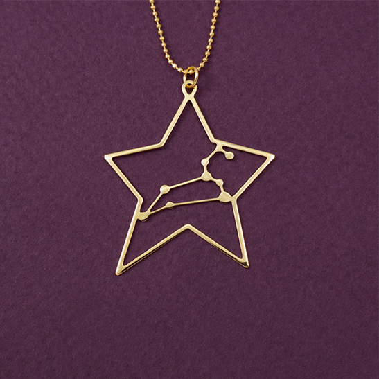 Leo necklace gold constellation by Delftia Science Jewelry