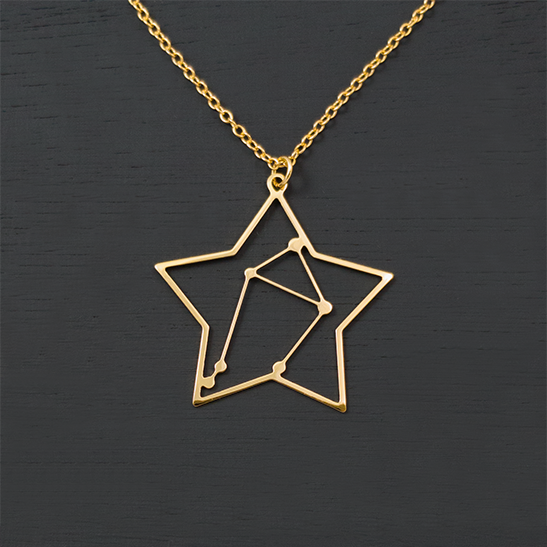 Libra constellation in gold by Delftia Science Jewelry