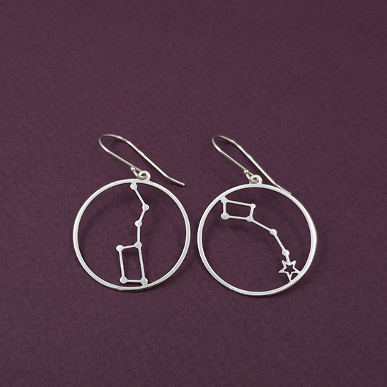 Little Dipper and Big Dipper earrings in silver by Delftia Science Jewelry