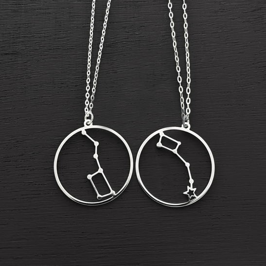 Little dipper and Big dipper set silver necklaces by Delftia Science Jewelry