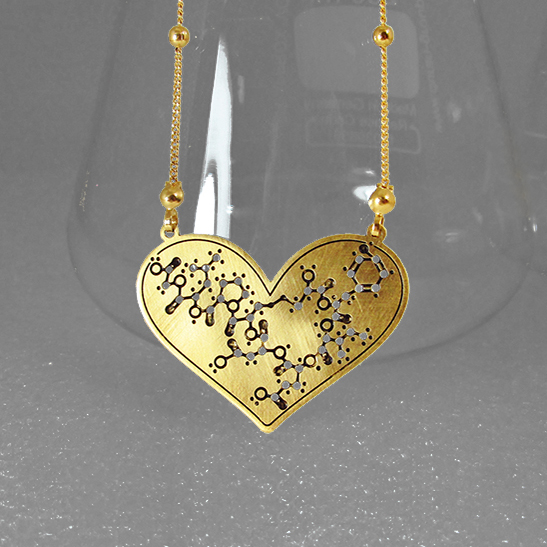 Oxytocin heart gold by Delftia Science Jewelry