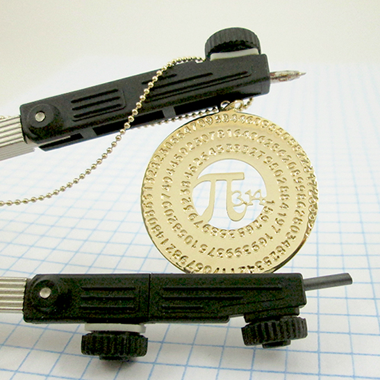 Pi necklace in gold by Delftia Science Jewelry