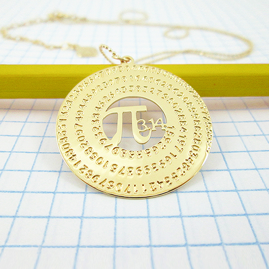 Pi math gold necklace By Delftia Science Jewelry