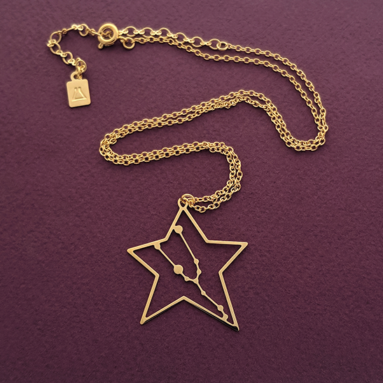 Taurus necklace constellation in gold by Delftia Science Jewelry