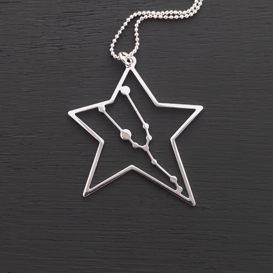 Taurus necklace silver constellation by Delftia Science Jewelry