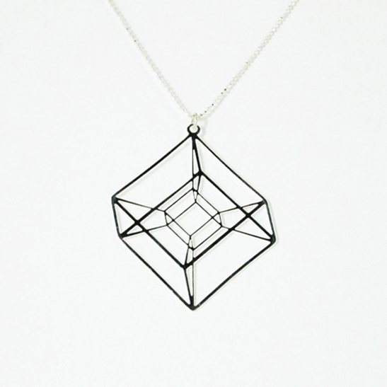 Tesseract necklace in silver hypercube by Delftia Science Jewelry