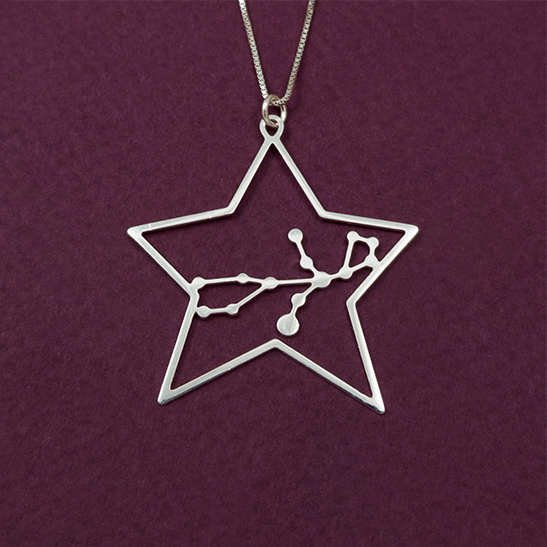 Virgo constellation necklace in silver by Delftia Science Jewelry