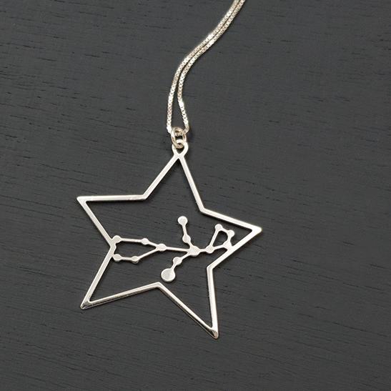 Virgo constellation silver necklace by Delftia Science Jewelry