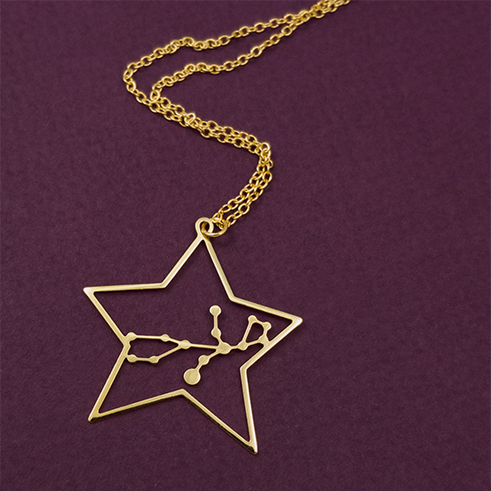 Virgo gold necklace by Delftia Science Jewelry