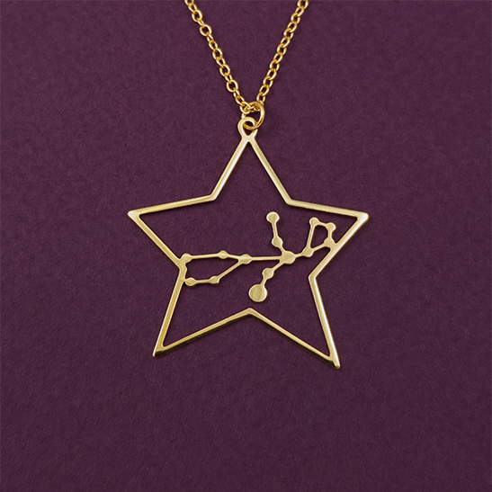 Virgo necklace in gold by Delftia Science Jewelry