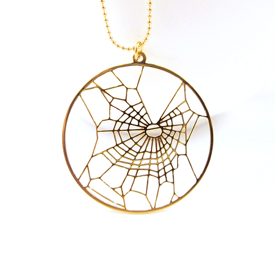 Spiderweb THC gold necklace by Delftia Science Jewelry