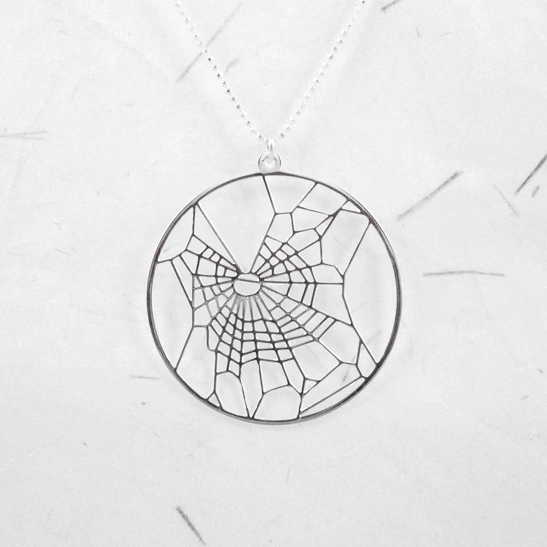 cobweb under the influence of THC silver necklace by Delftia Science Jewelry