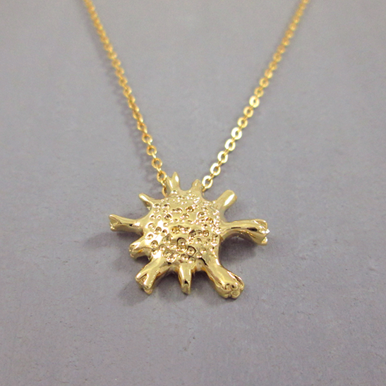 calcarina gold foraminifera necklace by Delftia science jewelry