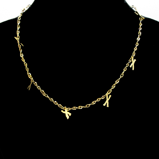 DNA-gold-necklace-with-chromosomes-charms by Delftia Science Jewelry