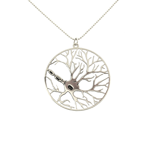 Moltipolar-neuron-silver-necklace-in-a-circle-by-delftia-Science-Jewelry