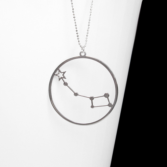 Little dipper with Polaris silver necklace by Delftia Science jewelry