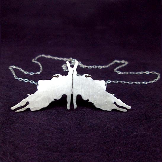 Rorschach 5 silver necklace
