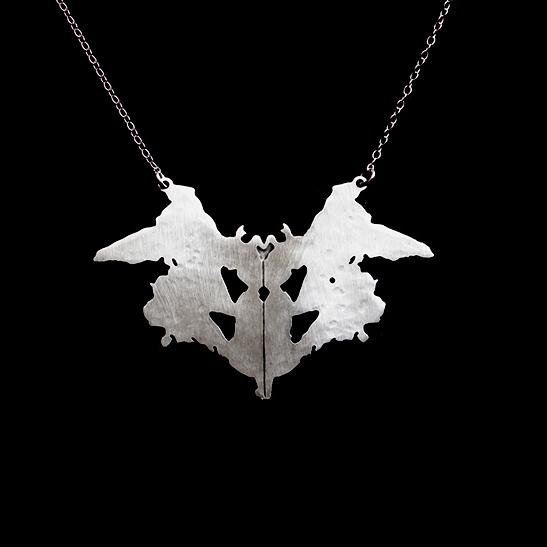 Rorschach inkblot 1 silver necklace