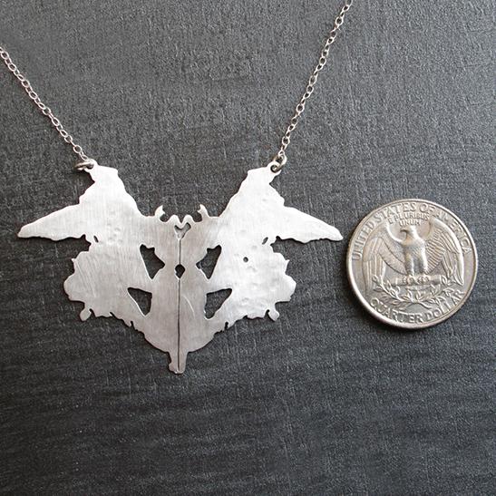 Rorschach silver necklace