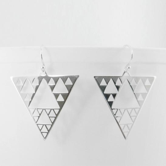 Sierpinski triangle earrings silver by Delftia Science Jewelry