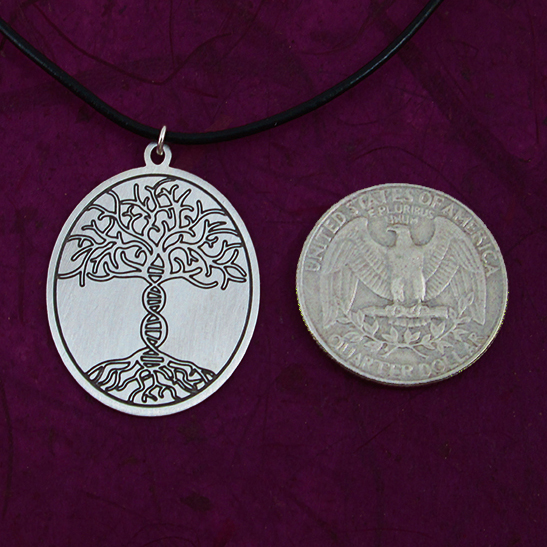 Tree of life DNA silver disk by Delftia Science Jewelry