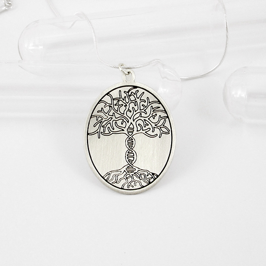 Tree of life DNA necklace silver disk by Delftia Science Jewelry
