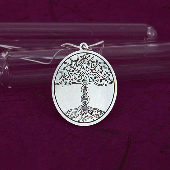 Tree of life with DNA necklace silver disk by Delftia Science Jewelry