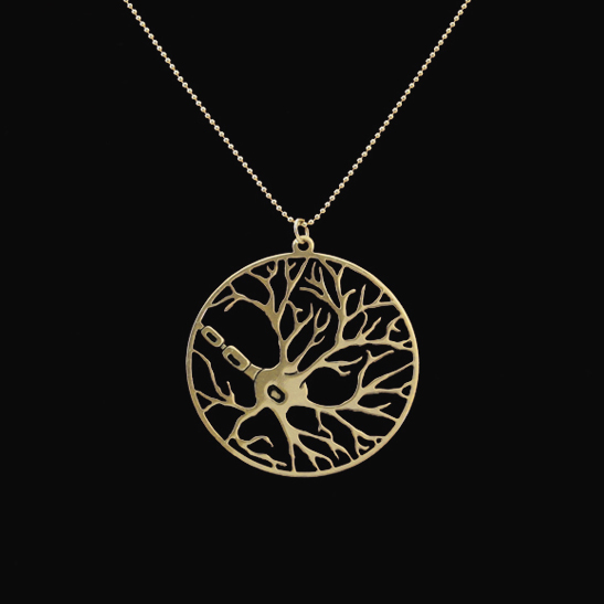 gold neuron necklace by Delftia Science Jewelry