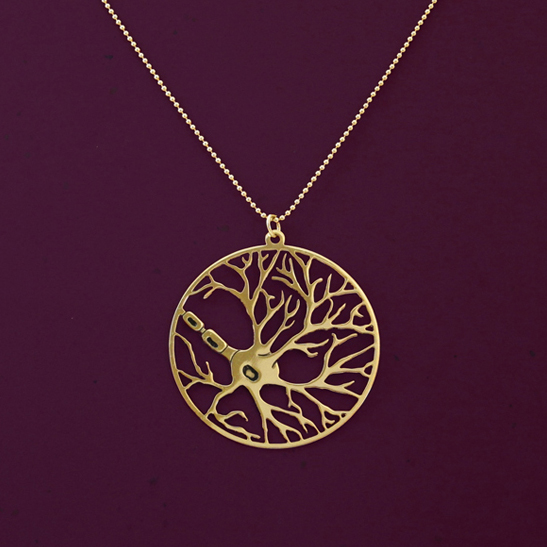 gold neuron necklace