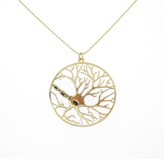 neuron gold necklace in a circle by Delftia Science Jewelry