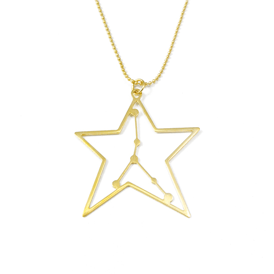 Cancer constellation necklace in gold by Delftia Science Jewelry