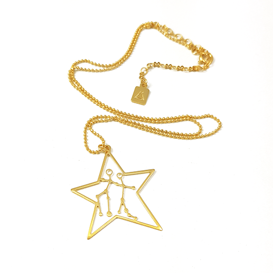 Gemini constellation necklace gold by Delftia Science jewelry
