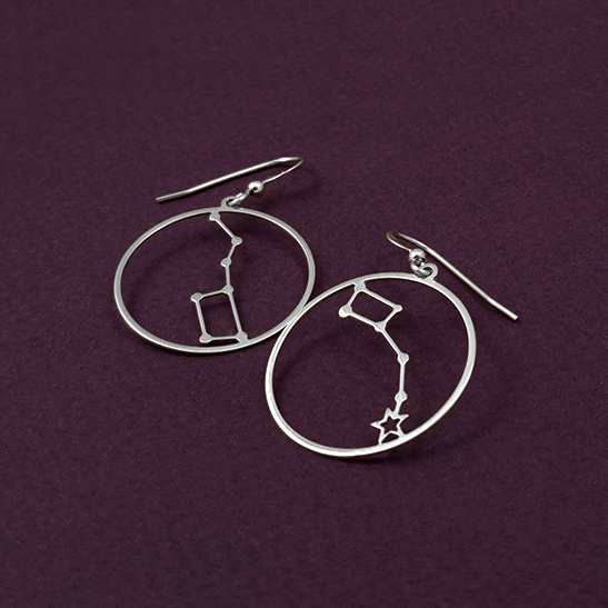 Big dipper and Little dipper constellation silver earrings by Delftia Science Jewelry