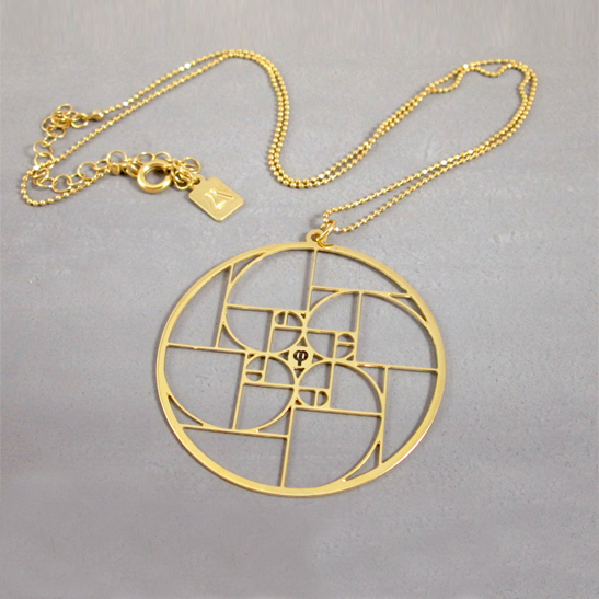 Golden Ratio Necklace phi in Gold by Delftia Science Jewelry