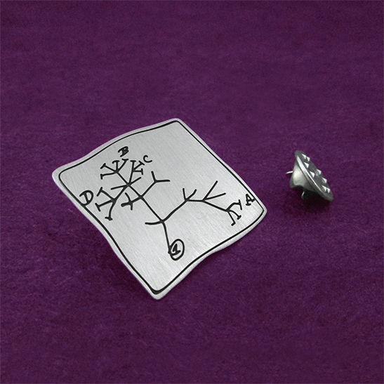 Darwin evolution tree pin in silver by-Delftia-Science-Jewelry