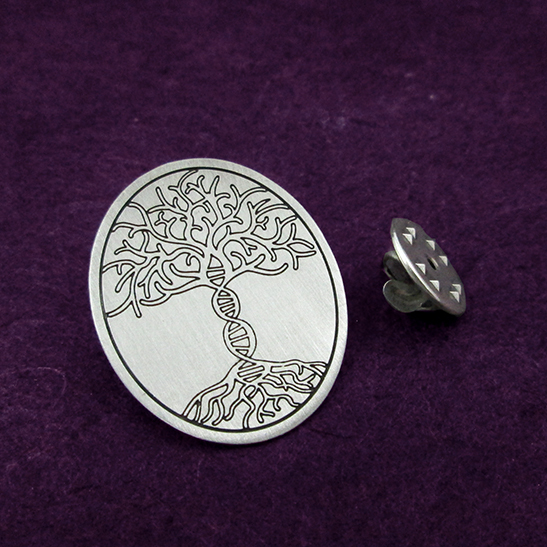 Tree of life DNA pin by Delftia Science Jewelry
