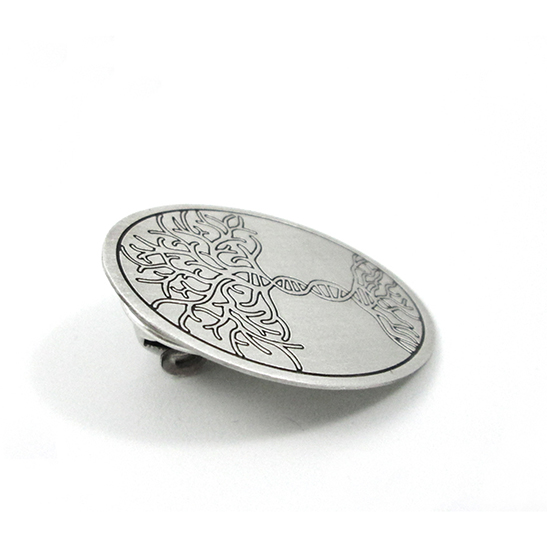 Tree-of-life-with-DNA-trunk-pin-in-silver-by-Delftia-Science-Jewelry