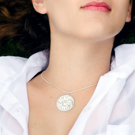 phylogenetic tree necklace disk by Delftia Science Jewelry