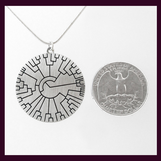 phylogenetic tree silver disk by Delftia Science Jewelry
