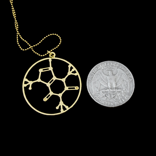 Caffeine molecular necklace in gold by Delftia Science Jewelry