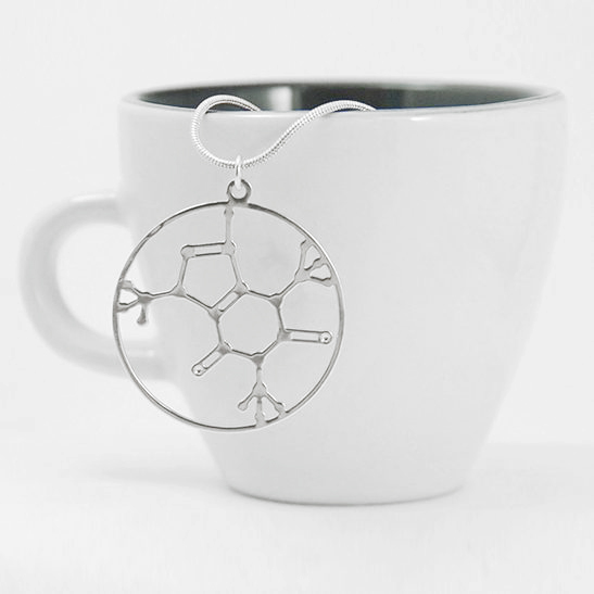 Caffeine molecule necklace in silver by delftia science jewelry