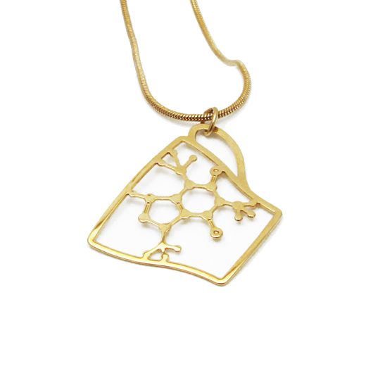 Coffee Cup necklace in gold Necklace by Delftia Science Jewelry