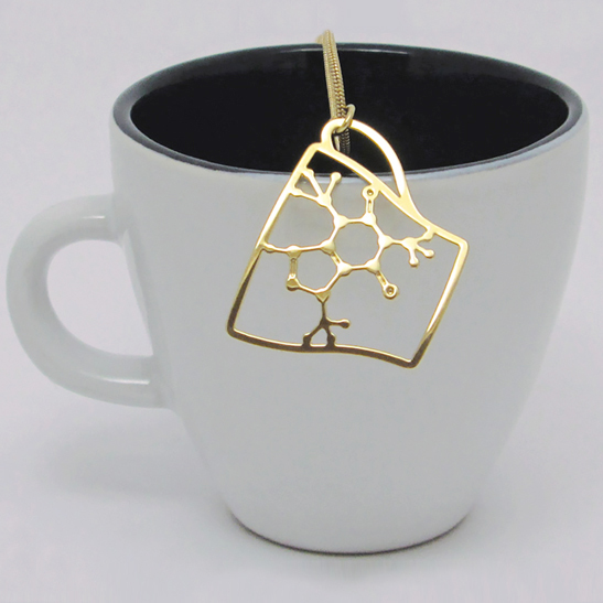 Caffeine molecule coffee cup necklace gold by Delftia Science Jewelry