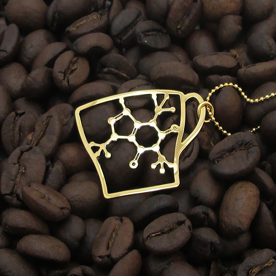 Coffee Molecule Necklace in Gold by Delftia Science Jewelry